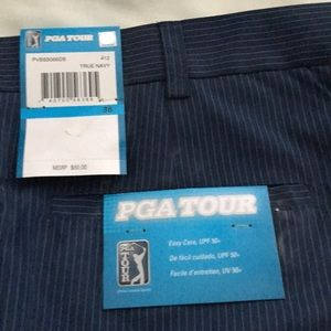 PGA Tour Shorts - Navy striped PGA golf shorts